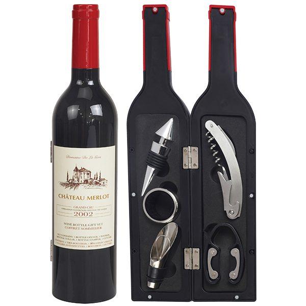 מארז פותחני יין בעיצוב בקבוק יין