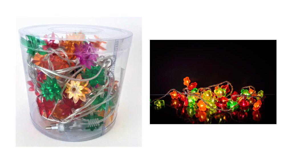 שרשרת אורות פרחים צבעוניים