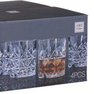 4 כוסות וויסקי זכוכית